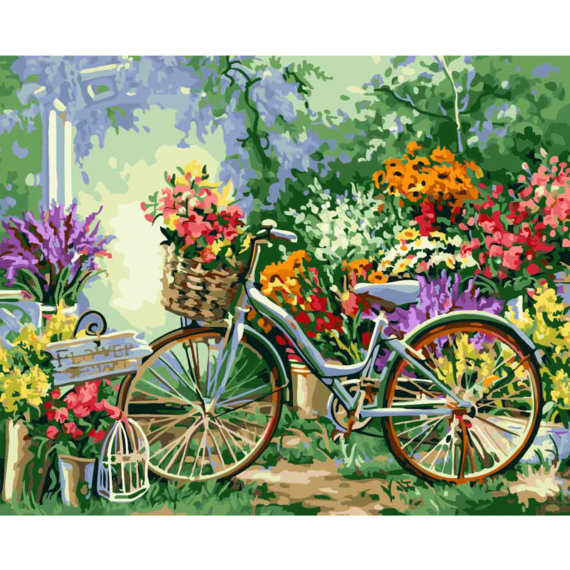 Flower Bicycle - Paint by Numbers
